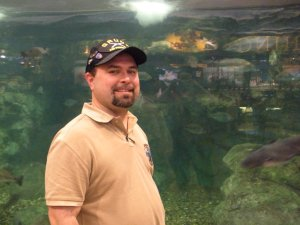 Geoff with the fishies at BassPro