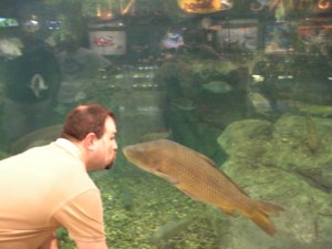 Geoff kisses the fishes