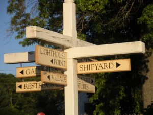 Quaint signpost in the Seaport.