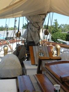 On the main deck under a sail shade.