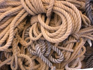 A *giant* pile of rope on the main deck.