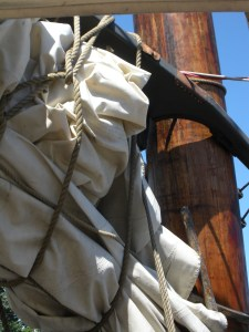 Sail and rigging on the main mast.