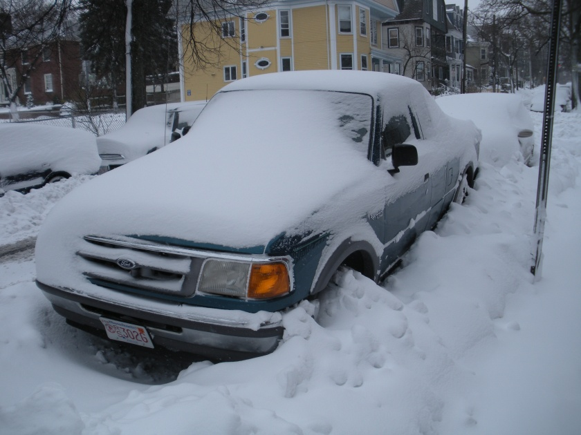 The truck, still snow covered.