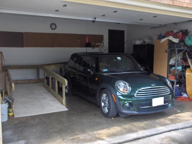 The MINI in the garage.