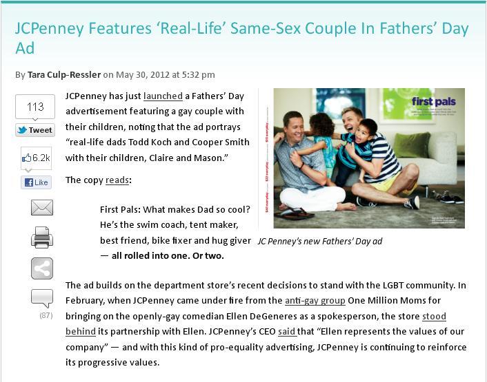 JCPenney GLBTQ friendly ad