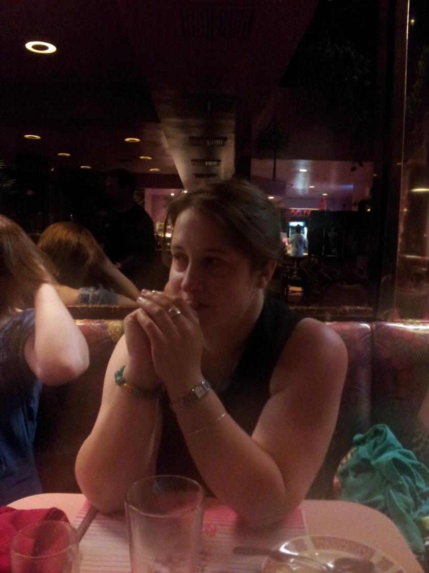 Amanda waiting for her mooshu.