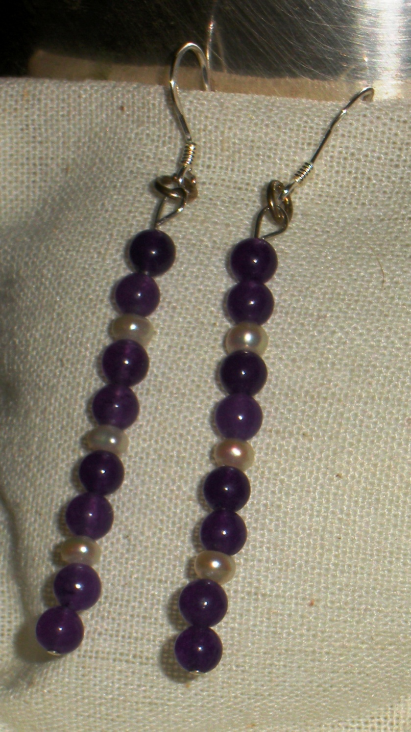 Purple adventurine, freshwater pearl.