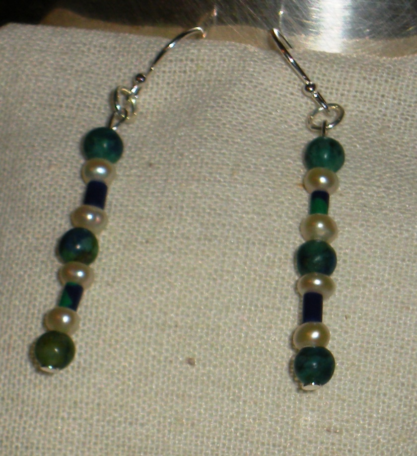 Chrysocolla and freshwater pearl.