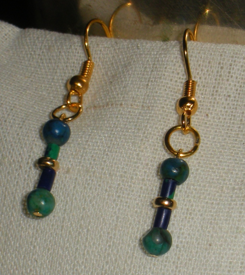 14k gold center bead, chrysocolla.