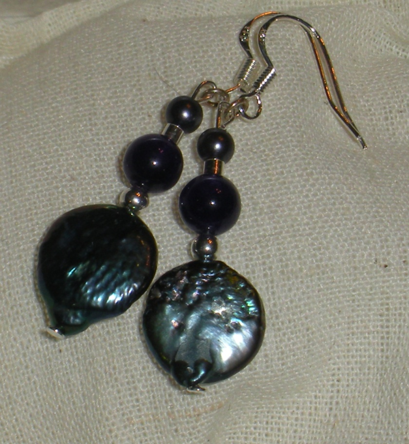 Blue coin pearl, sterling beads, amethyst, peacock pearl.