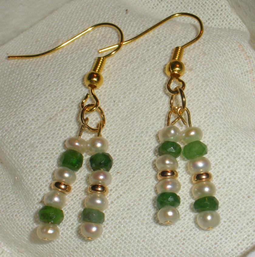 Freshwater pearl, tsavorite garnet, 14k gold beads.