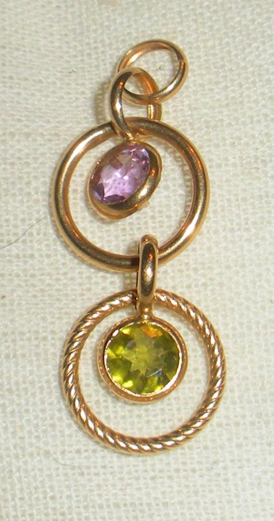 Amethyst and peridot pendant.