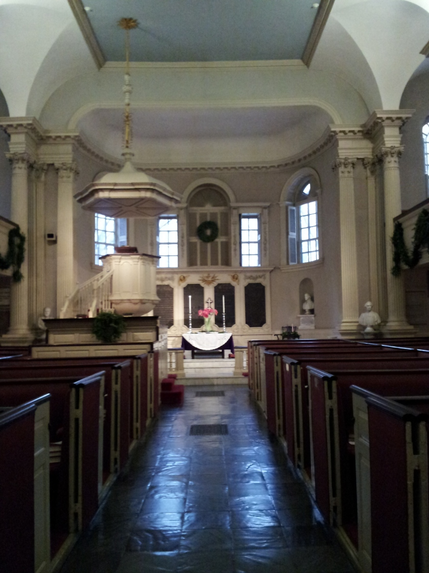 Looking towards the front of the church, with the 1717 pulpit on the left, and the 1696 Communion Table in the center.