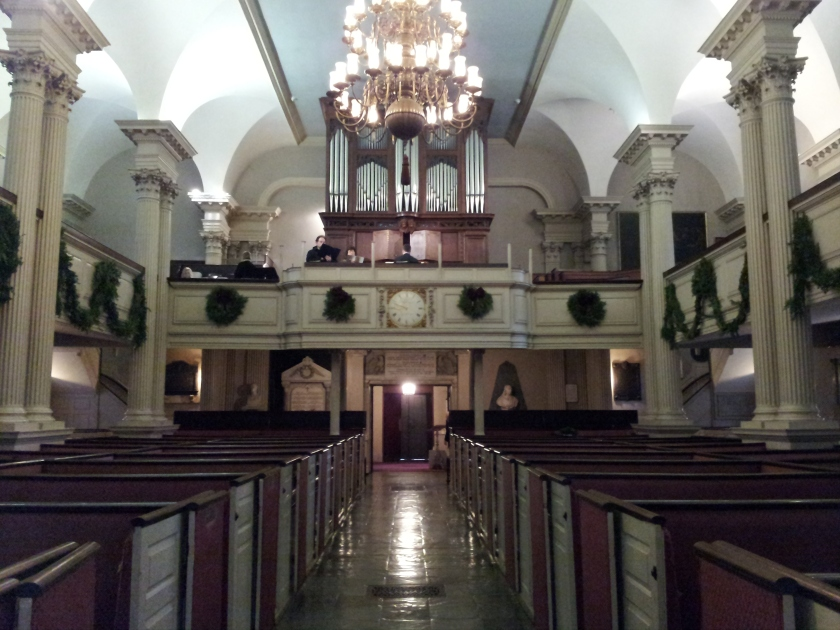 The magnificent Charles Fisk organ, with newly added Christmas decor.  Taken from the center aisle, looking back towards the vestibule and the back of the church.