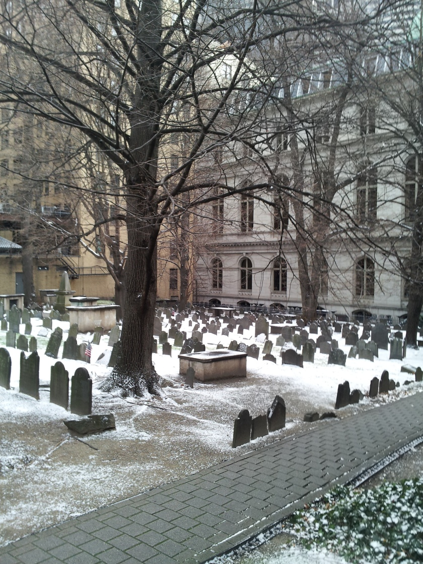 Looking out from the church courtyard toward the burial ground.