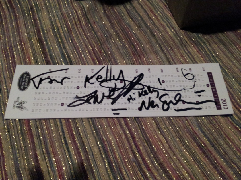 This is a Harvard Book Store bookmark signed by Amanda Palmer & Neil Gaiman.  It's on my shelf next to my safety goggles signed by the Mythbusters.  Yes, really.