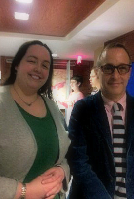 David Sedaris kindly poses for a photo with me before his event.  I may have fangirled him a little bit.