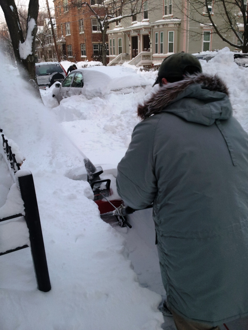 Notice how the snow is actually higher than the snowblower?