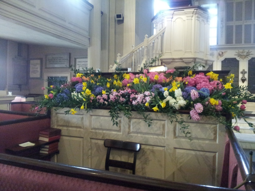 We made a platform of sorts in the pew in front of the clerk's box and the chancel committee filled it with all sorts of flowers.