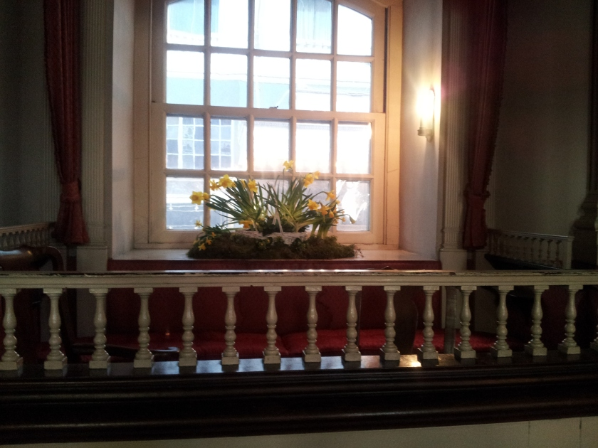 All the windows had an arrangement similar to this.  This is the one in the Governor's Box.