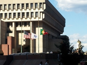 Portuguese flag outside Boston City Hall