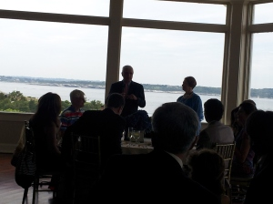 Not a great photo, but a lot of family here.  Uncle Paul and Aunt Pauline make a few remarks before my cousins got up to toast them.