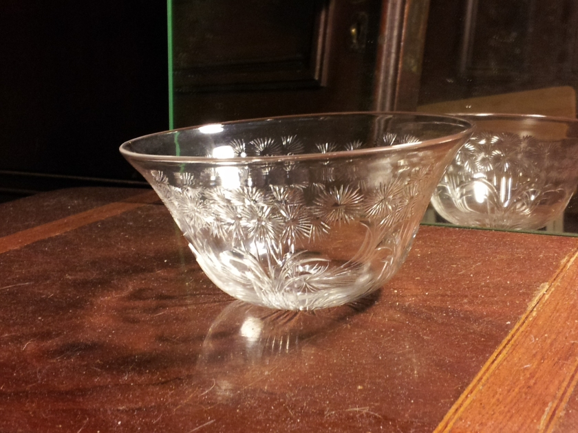 American Brilliant Period hand cut crystal bowl with floral decoration. $2