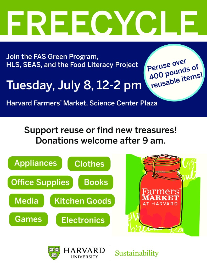 Harvard Square Famer's Market Freecycle event poster