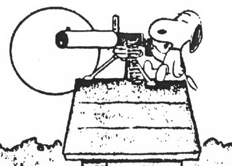 Snoopy with a very large gun.