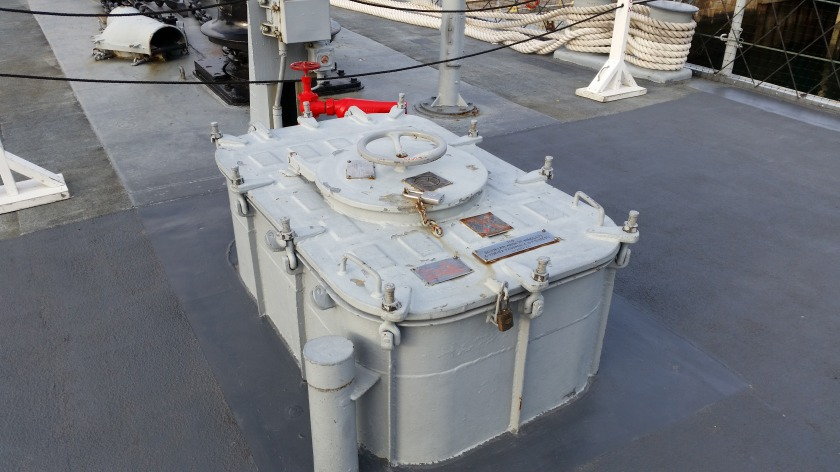 The hatch in question, on the foredeck in front of No. 51 Mount.
