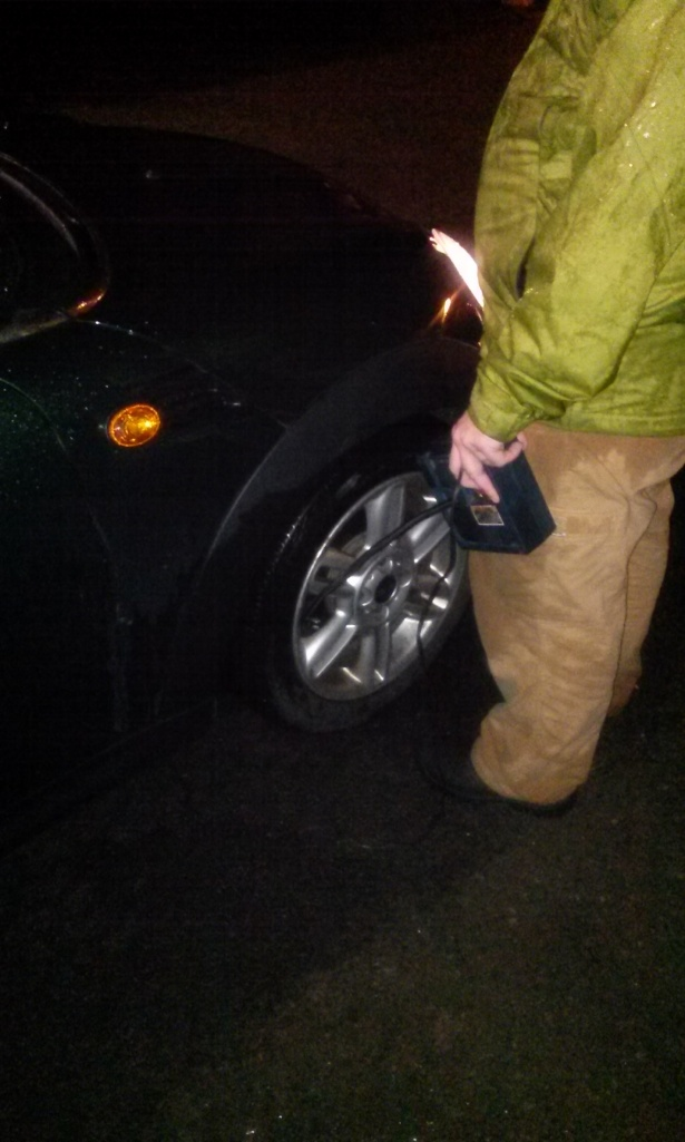 Flat tires in the pouring rain are always fun.