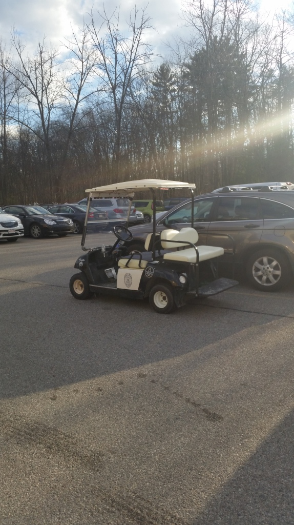 It's a Shriners golf cart with flashing red and blue police lights built it.