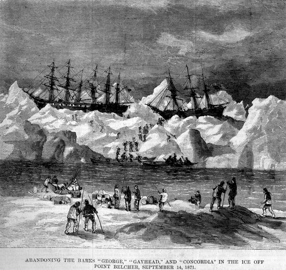 An image from Harper's Weekly showing three of the trapped whaling ships.