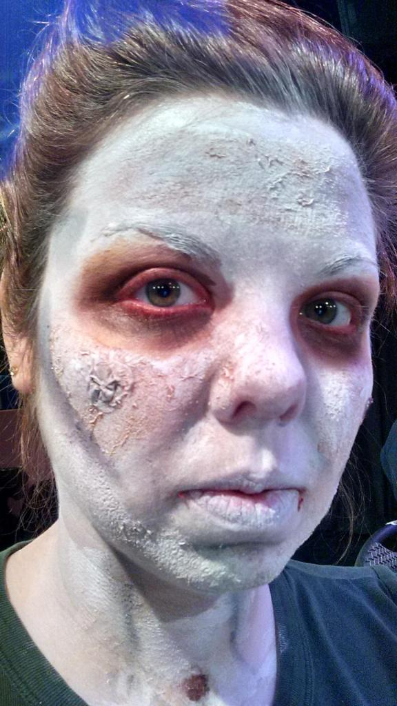 A newly made Zombie, Teri has not yet entirely transformed.