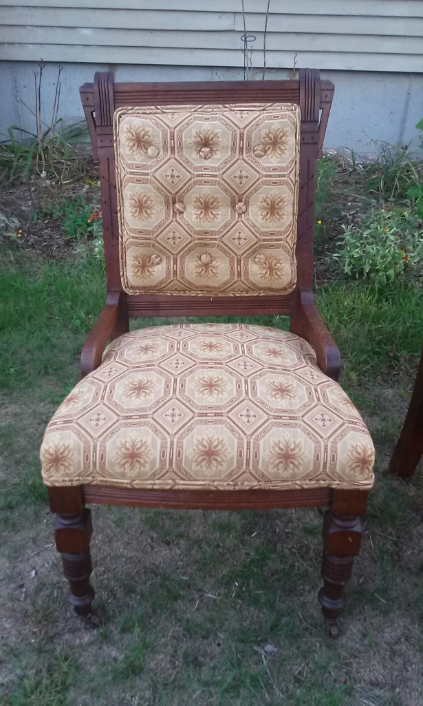 "Front view of the newly done ""little chair""."