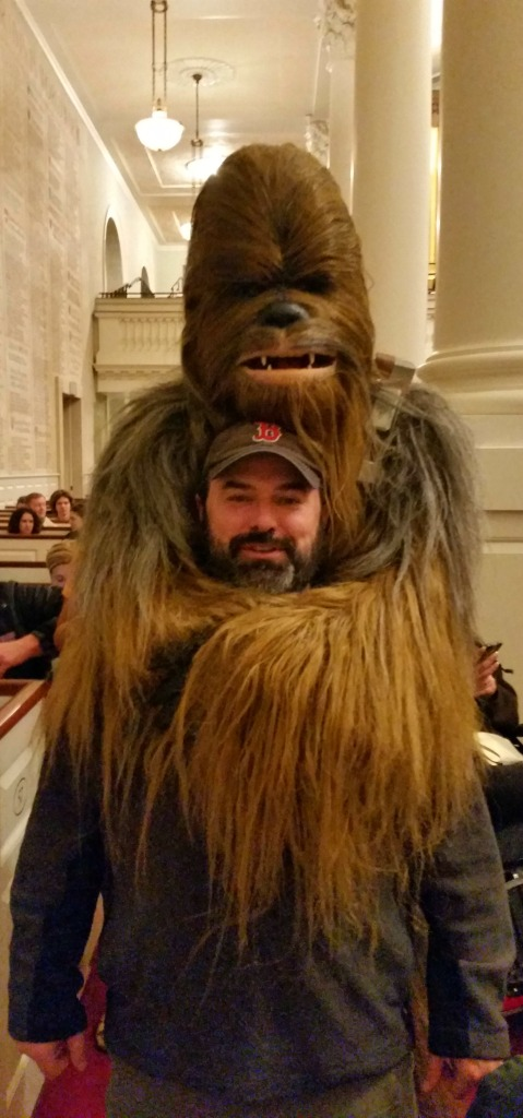 "Geoff got a hug from Chewbacca the ""walking rug"" at Carrie Fisher's event at Harvard."
