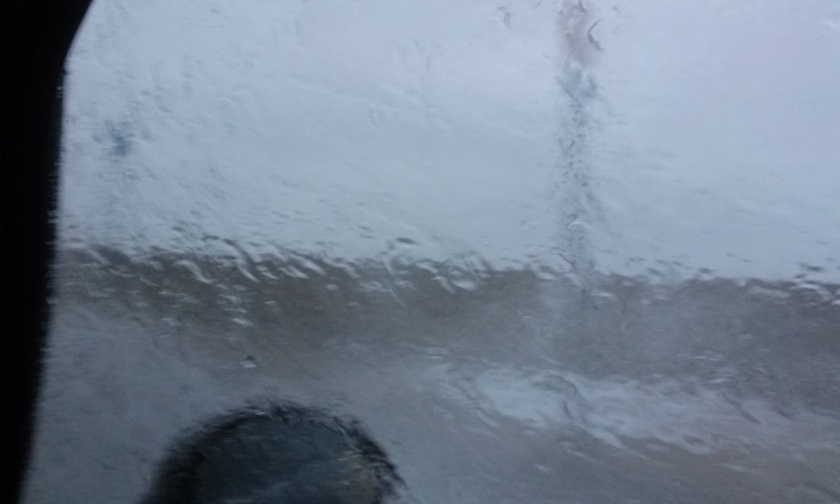 That's ocean water covering the window, not rain.